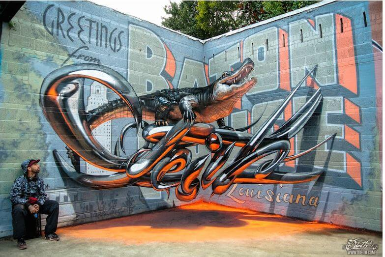 odeith_street_art_graffit_3d_crocodile_orange_wall_piece